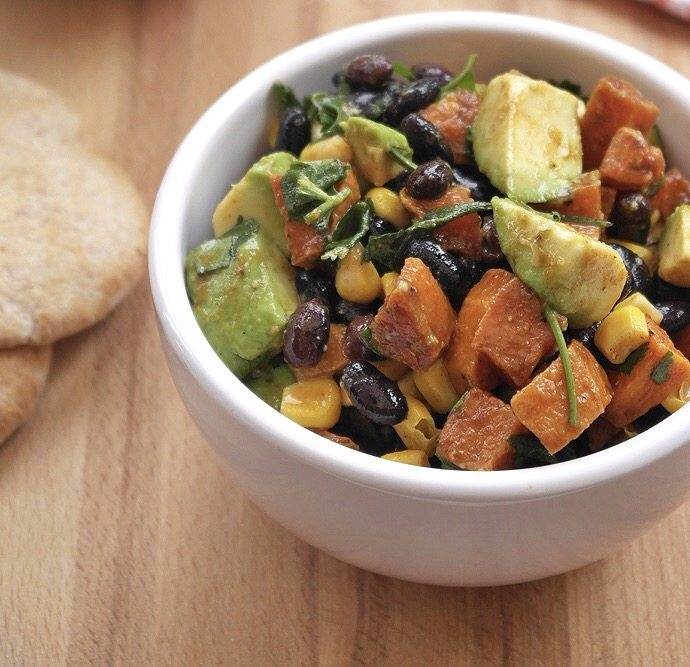 Healthy lunch recipe for women on-the-go- vegan black bean, avocado & sweet potato salad with lime dressing , by healthista.com