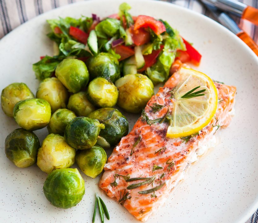 salmon and brussels sprouts Tired? Bloated? Skin dry and itchy? You might have fatty liver Healthista
