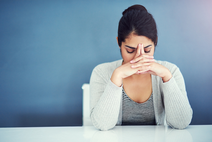 stressed woman What you should know about IBS TODAY Healthista