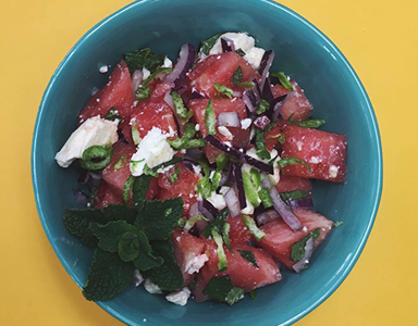watermelon and feta salad bowl, meat-free monday recipe by healthista