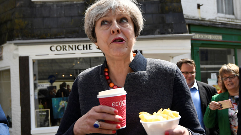 Theresa May with chips on the campaign trail, celebrity trainer secrets by healthista