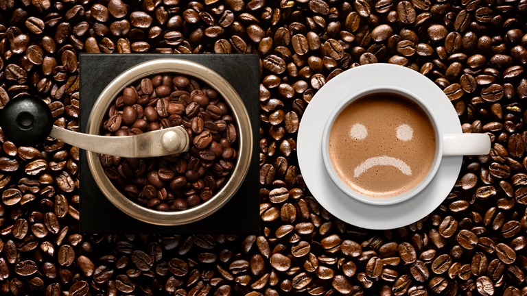 sad face coffee main, 5 pitfalls when it comes to drinking coffee by healthista
