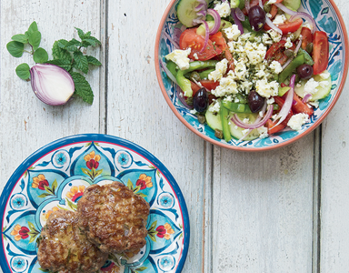 Low-carb Greek salad with lamb feta burgers recipe, quick keto, by healthista (2)