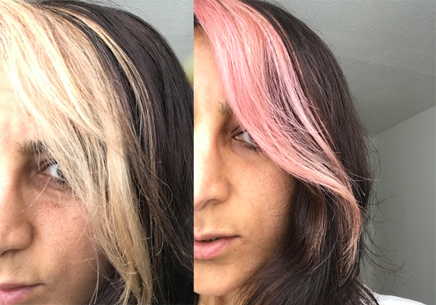 Before and after using Infuse My Colour Wash