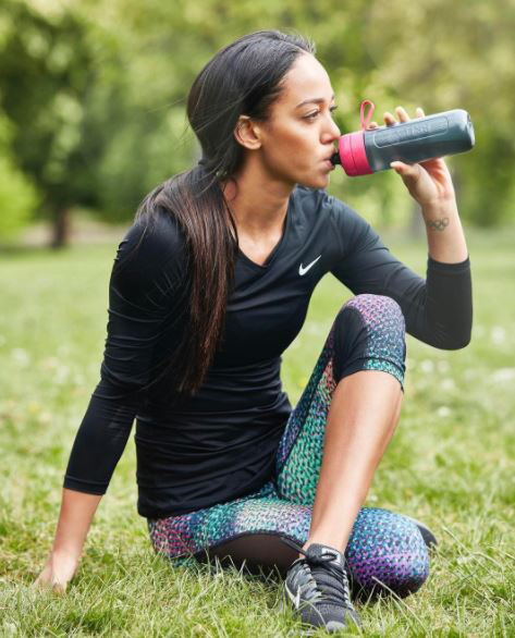 Katarina Johnson Thompson drinking BRITA, workout for non athletes by healthista
