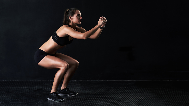 body weight squat, sweaty 30 lower body workout by healthista.com