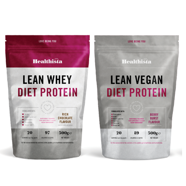 Healthista Lean Diet protein powder, vegan and whey