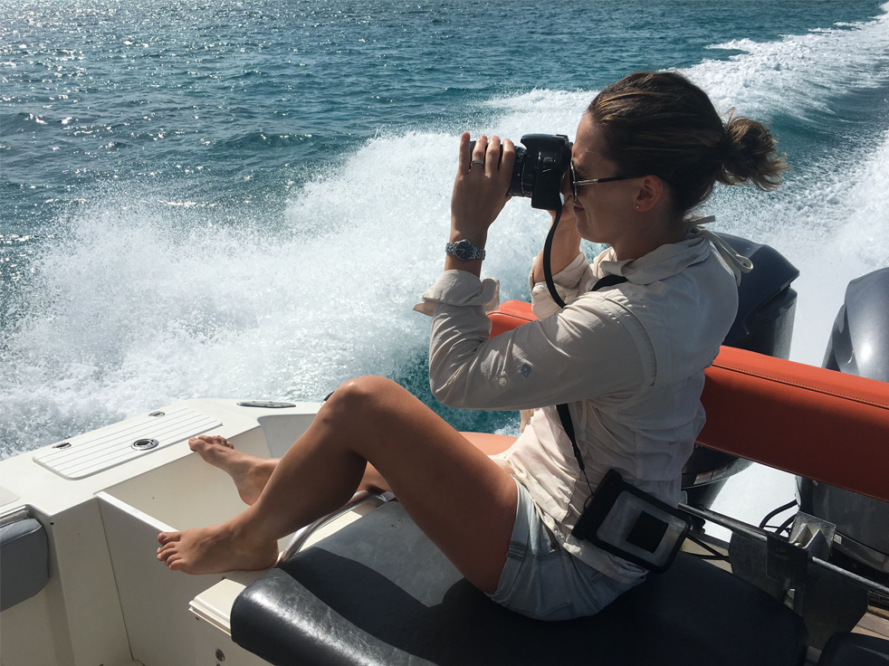 Polly taking photo at sea, how does a bodyguard stay fit by healthista