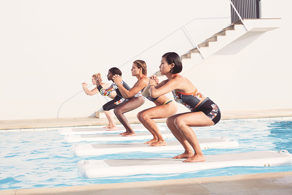 Floating aqua aerobics paddle board, 7 fitness trends you have to try this Autumn (cosying up on the couch can wait until Christmas) by healthista