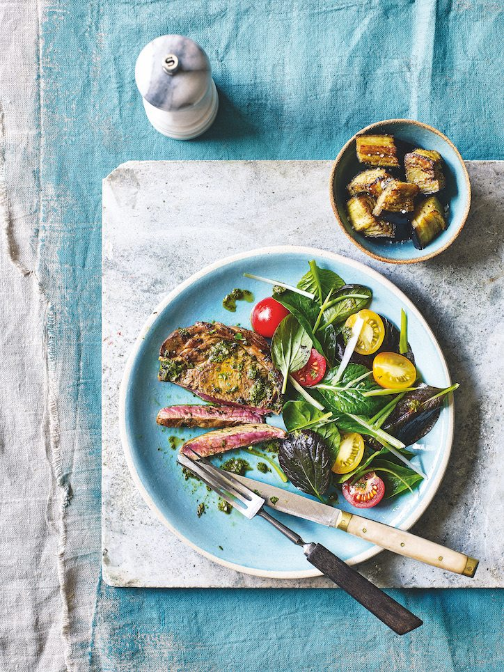Grilled Lamb with Aubergine & Minty Chimichurri Eat your way to happiness 3 day brain boosting diet healthista
