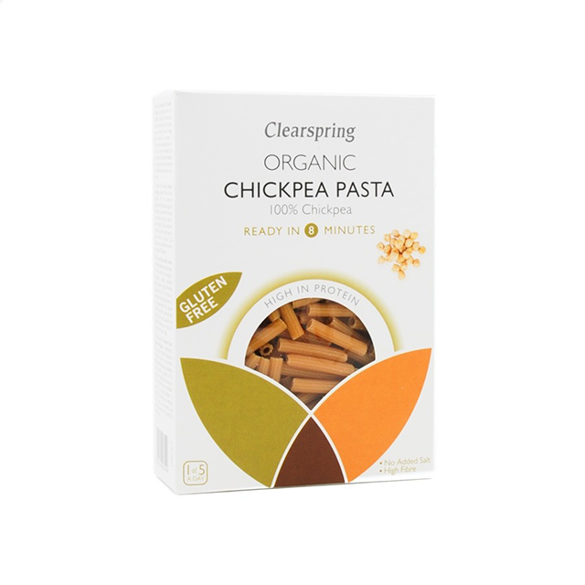 clearspring organic chickpea pasta, best protein pastas by healthista