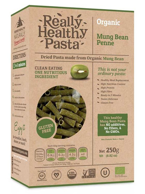 really healthy pasta mungbean penne, best protein pasta by healthista