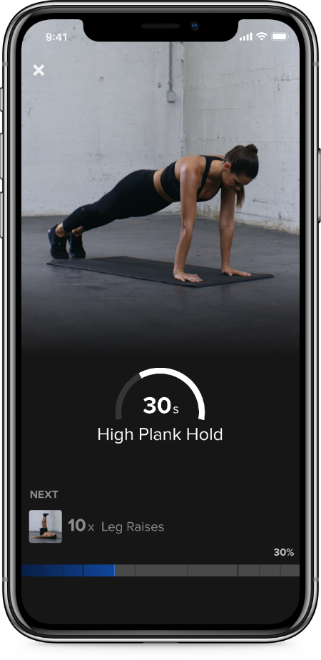 intraTraining-plank Freeletics interface, the fitness app powered by AI that can give you your own tailored workout programme by healthista