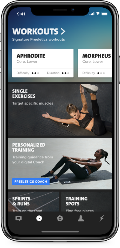 training section female freeletics, the fitness app powered by AI that can give you your own tailored workout programme by healthista
