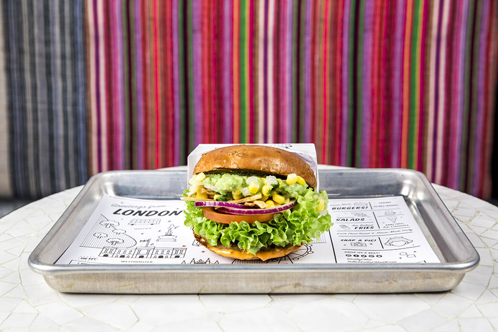 Guac burger by CHLOE. healthy places to eat out this spring
