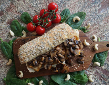 Warm-Tofu-Baguette-with-mushrooms- FEATURE