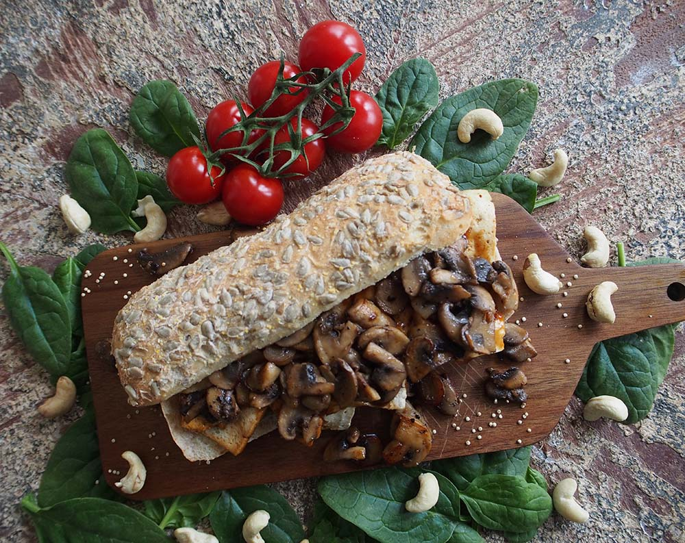 Warm-Tofu-Baguette-with-mushrooms