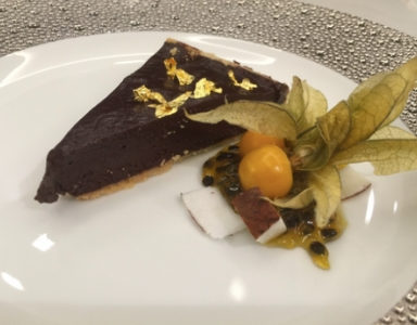 Vegan Dark Chocolate Ganache Tart on a Nut and Coconut Butter Crust with Cardamom Olivier Sanchez Michelin star Healthista