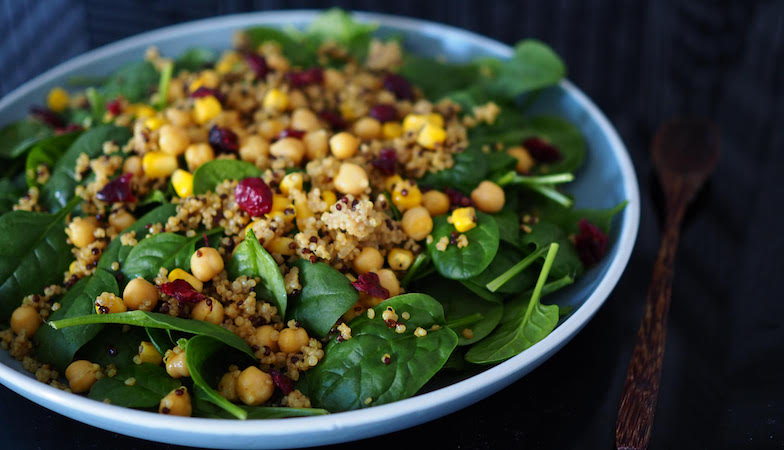 mood food diet, healthista, quinoa and spinach salad