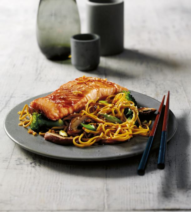 3 healthy dinner recipes to help you sleep Seared teriyaki salmon with stir-fried broccoli noodles eat to sleep