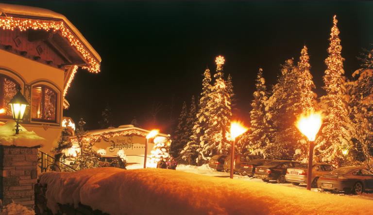 spa and ski, austrian tyrol, outside hotel, night