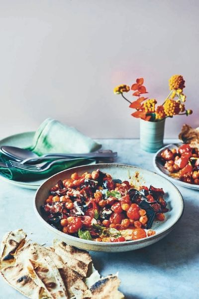vegan recipes that will impress your friends -Aubergine Chickpea Traybake