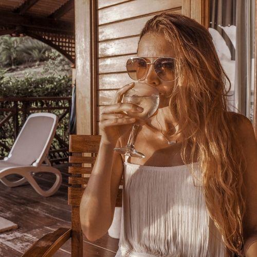 st lucia resort - drinking on terrace