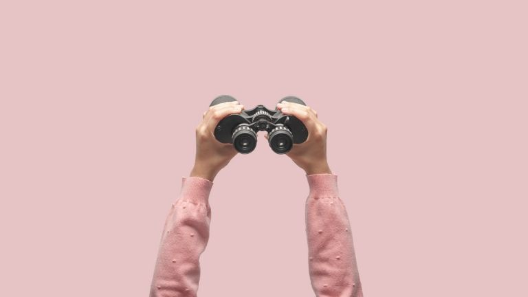 time management happiness - exploring binoculars pink