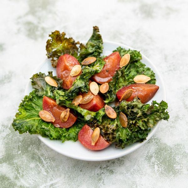 plant-based recipes - mindful kitchen - plum and kale salad