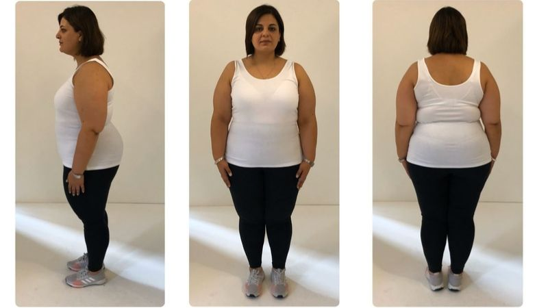 DINA BEFORE weight-loss transformation