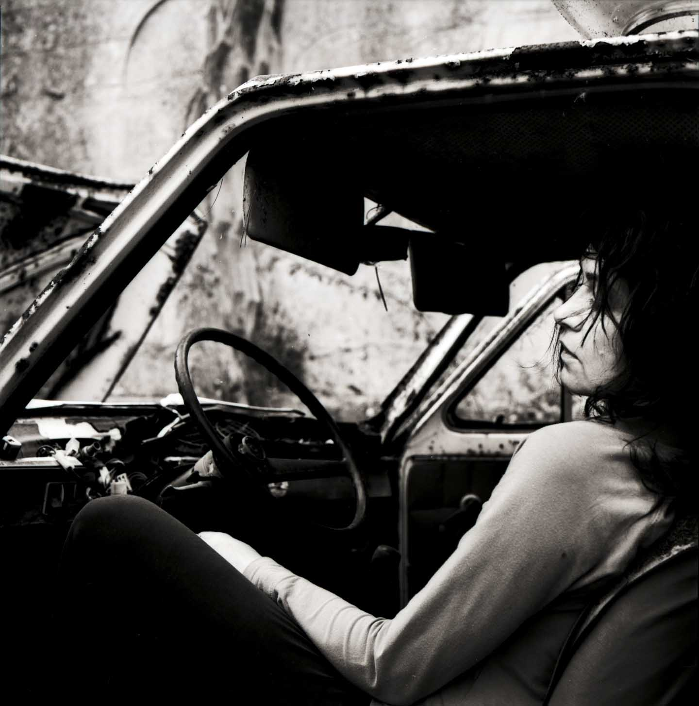 Marianne Dissard in car photography