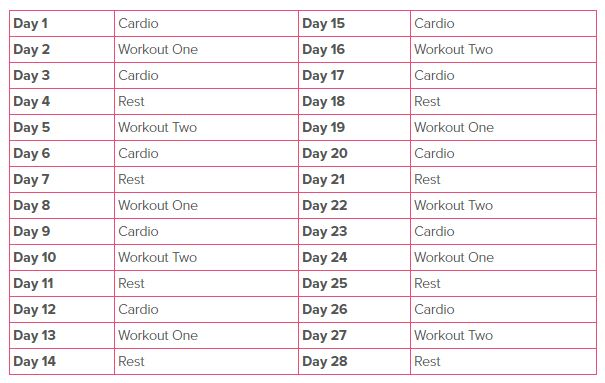 workout schedule month 1 weight-loss transformation