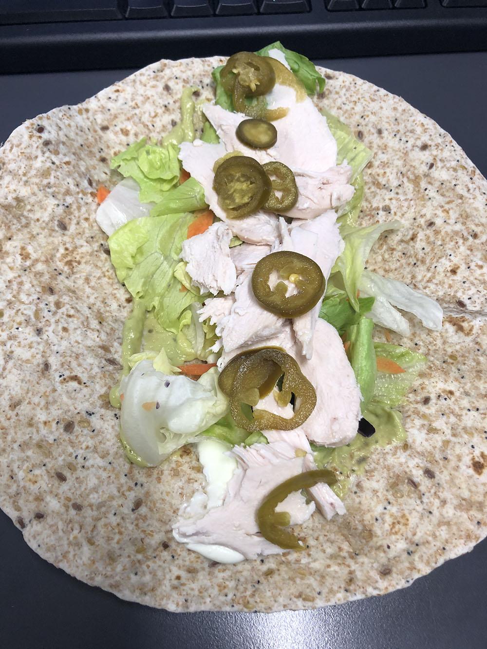 food transformation dina chicken and veg wrap