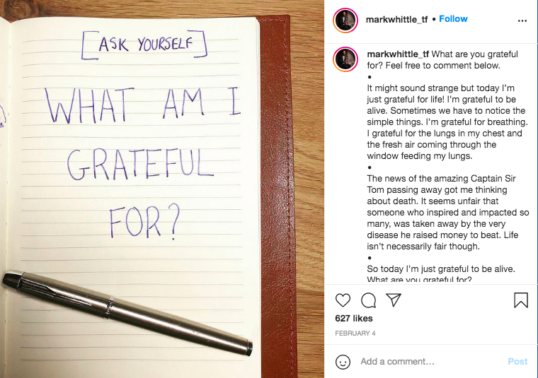 Mark Whittle Instagram gratitude