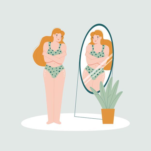 eating disorder cartoon women looking in mirror feature