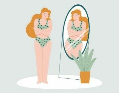 eating disorder cartoon women looking in mirror