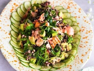 Foodie Friday roast salmon, avocado & puy lentil salad FEATURED